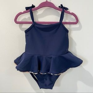 Burberry Baby Girl Blue Ruffle One Piece Swimsuit
